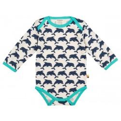 loud + proud - Bio Baby Body langarm mit Delfin-Druck