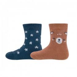 Ewers - Bio Baby Socken Doppelpack mit Bären- und Sternen-Motiv, marine