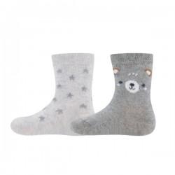 Ewers - Bio Baby Socken Doppelpack mit Bären- und Sternen-Motiv, grau