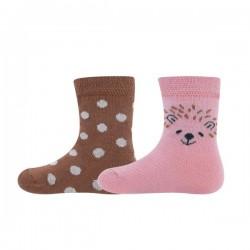 Ewers - Bio Baby Socken Doppelpack mit Igel-Motiv und Punkten