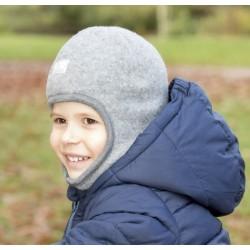 "PICKAPOOH - Bio Kinder Fleece Mütze ""Sturmhaube"", Wolle, grau"