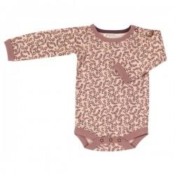 Pigeon - Bio Baby Body mit Blätter-Allover, rosa