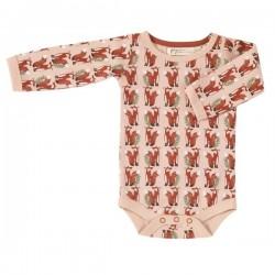 Pigeon - Bio Baby Body mit Fuchs-Allover, rosa