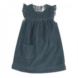 Pigeon - Bio Kinder Wende Kleid aus Cord uni/Hasen-Allover, blau
