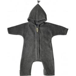 """Kitz Heimat - Bio Baby Fleece Overall """"JUN"""" mit Kapuze, Wolle, grau"""