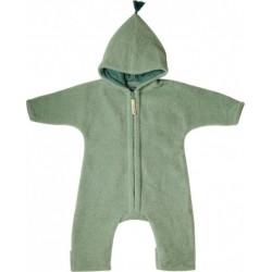 """Kitz Heimat - Bio Baby Fleece Overall """"JUN"""" mit Kapuze, Wolle, shady green"""