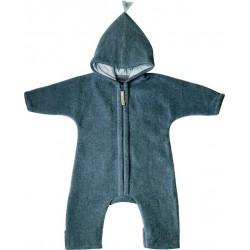"""Kitz Heimat - Bio Baby Fleece Overall """"JUN"""" mit Kapuze, Wolle, frosty blue"""
