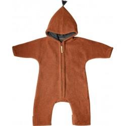"Kitz Heimat - Bio Baby Fleece Overall ""JUN"" mit Kapuze, Wolle, copper"