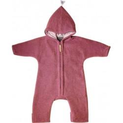 """Kitz Heimat - Bio Baby Fleece Overall """"JUN"""" mit Kapuze, Wolle, dusty berry"""