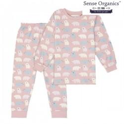 "Sense Organics - Bio Kinder Schlafanzug ""Long John Retro"" mit Eisbären-Allover, rosa"