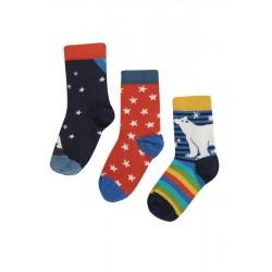 """frugi - Kinder Strümpfe 3er-Pack """"Rock my Socks"""" mit Sternen und Eisbär"""