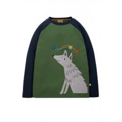 """frugi - Bio Kinder Langarmshirt """"Alfie"""" mit Wolf-Applikation"""