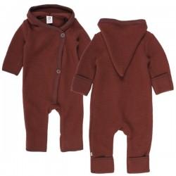 Müsli by Green Cotton - Bio Baby Fleece Overall mit Kapuze, Wolle, schoko
