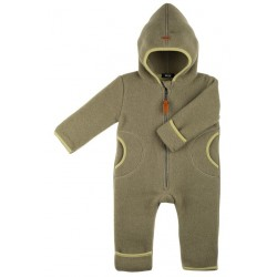 pure pure by BAUER - Bio Baby Fleece Overall mit Kapuze, Wolle, moos