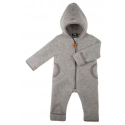 pure pure by BAUER - Bio Baby Fleece Overall mit Kapuze, Wolle, moonrock